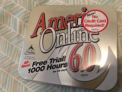America Online AOL 6.0 In Metal Tin For Windows And Macintosh
