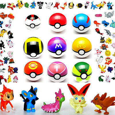 9pcs Pokemon Pop-up Ball & 24pcs Go Action Figures Pokeball Kid Toys US