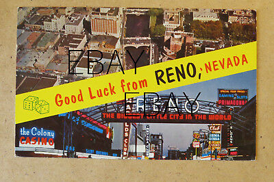 ST132- Reno NV postcard -Good Luck - multiview - Renos Arch - Aerial view 1961