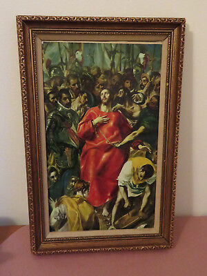 Framed Religious-Painted Print-on-Canvas-The-Disrobing-of-Christ-by-El-Greco