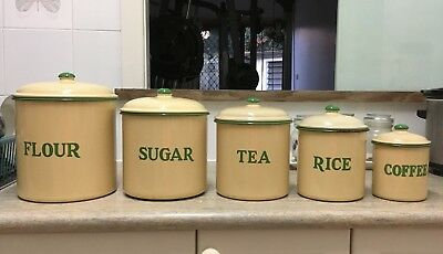 Vintage Enamel Kitchen Canisters (Set 5)