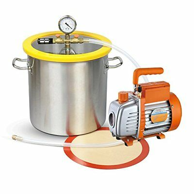 NEW 5 Gallon Stainless Steel Vacuum Degassing Chamber Kit  with 3.6 CFM Pump