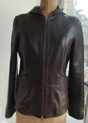 Adena Collection Timeless Hooded Chocolate  Brown Leather Jacket