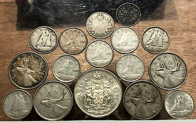 Lot of (16) SILVER Canadian Coins
