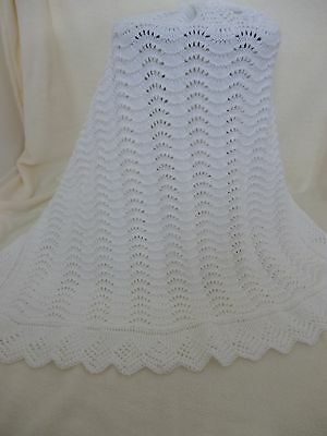 Lovely New Soft White Hand Knitted Baby Shawl
