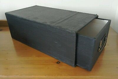Antique Wooden Box File Ex Doctors With Brass Handle 15 X 8 X5 Approx Black