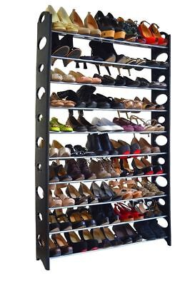 50 Pair 10 Tier Shoes Tower Adjustable Rack House Space Saving Storage Organizer