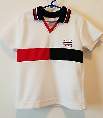 Vintage TOMMY HILFIGER Spell Out Flag Embroidery Yacht Tennis Polo Shirt Youth S