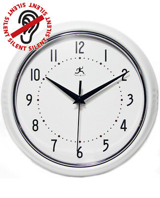 White Retro Vintage 50s Decorative Kitchen Wall Clock 9.5 inch