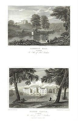 6 x Stately Homes of Gt Britain (Alnwick Castle etc) After John P. Neale  c1830