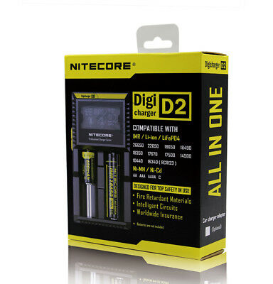 NITECORE D2 Digi charger For 18650 14500 18350 26650 CR123A  AAA Li-ion & Ni-MH
