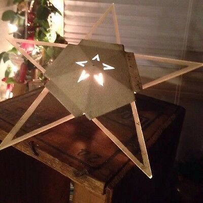 Vintage Christmas Old GLASS Metal Atomic Lighted STAR Tree Top Topper Rare