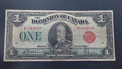 1923 Dominion of Canada One Dollar Red Seal Note * Fine Cond. * Low Bid Price *