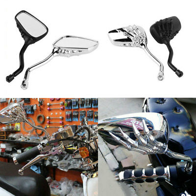 Motorcycle Mirror 2pcs Universal Chrome Skull HAND Claw Side Rear View 8mm 10mm