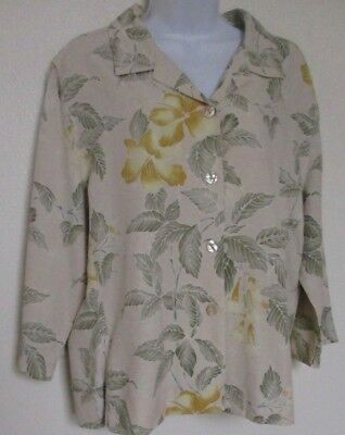 Tommy Bahama Women's Blouse Jacket w/lining 100% Silk Top 3/4 sleeves Size 14