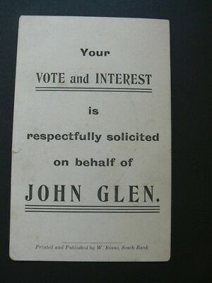 Your Vote & Interest. John Glen. Vintage Postcard. Free UK P&P