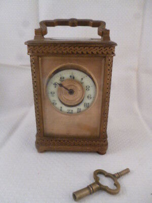 Antique Gilt Carriage Clock with Key for Restoration