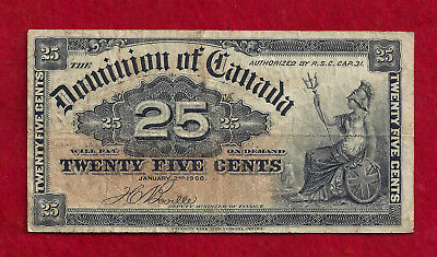 1900 Dated Dominion Of Canada 25 Cent Fractional Currency Note