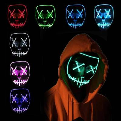 LED Glühend leuchtet EL Wire Horror Party Halloween Maske Kostüm Cosplay Purge