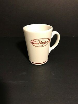 Tim Hortons 12oz Steelite Coffee/Tea Cup White Brown Logo Made in England
