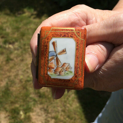 Limoges Decor Main  Porcelain Windmill Book Trinket BoxWith Tiny Spectacles