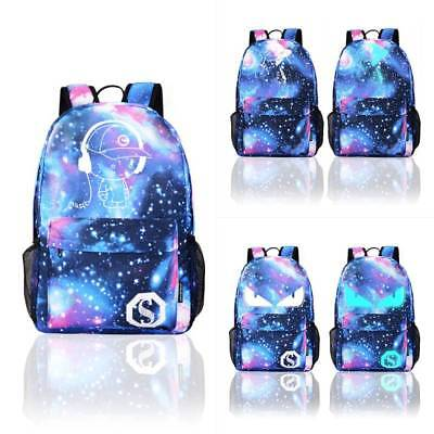 Unisex Anime Luminous Anti-Theft Backpack Daypack Shoulder SchoolBag USB Charger