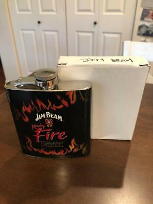 New Jim Beam Whiskey Kentucky Fire Flask Stainless Steel Cinnamon Liqueur in Box