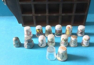 12 X Porcelain, 2 Pewter & 1 Glass Thimbles+ Display-Highland, Spode, R. Worcest