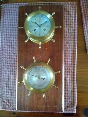Brass Schatz Ships Bell 8 Day 7 Jewels Clock And Barometer Both Working