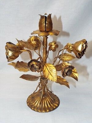 Vintage Italian Florentine Gold Gilt Metal Sculptural Rose Floral Candle Holder