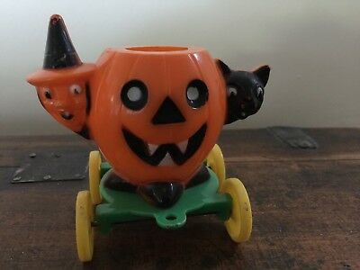 Vintage Halloween Plastic Candy Container On Wheels Witch Cat JOL