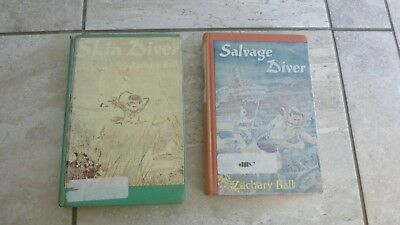 Lot of 2 vintage library books by Zachary Ball:  Salvage Diver & Skin Diver, HC,