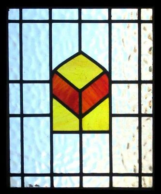 Original Art Deco English Stained Glass Window In Original Frame