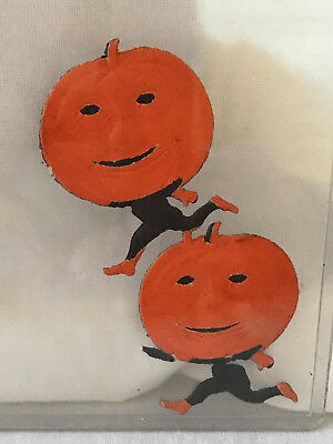 Vintage (5) German DEMMLER Scrap Die Cut Running Pumpkins