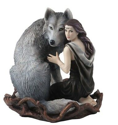 "6.25"" Soul Bond by Anne Stokes Statue Sculpture Fantasy Home Decor Gothic Wolf"