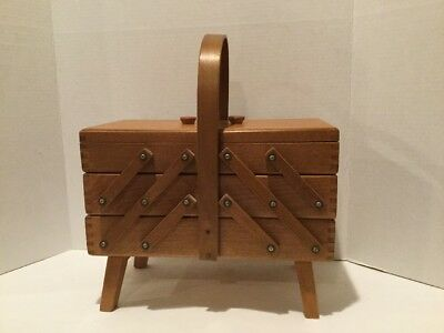 """VTG Mid-Century Wood Sewing Box - Accordian Style - Fold Out - 12.5"""" X 10"""" X 6"""""""
