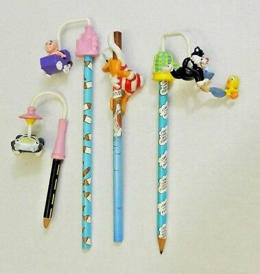 Vintage Pencil Lot 80s 90s Pencils Toppers Looney Tunes Sylvester Tweety Daffy