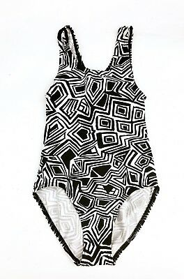 Vintage Baby Kids 80s 90s Retro Monochrome Swim Sports Beachwear Swimsuit 2-3 Y