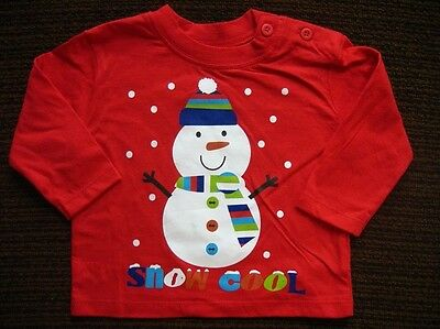 Christmas Red Cotton Snowman Top 3-6 Months F&F Tesco New with Tags