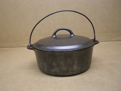 """10"""" Griswold #8 Dutch Oven 833 Round Roaster Large Slanted Logo W/lid 2551 Cover"""