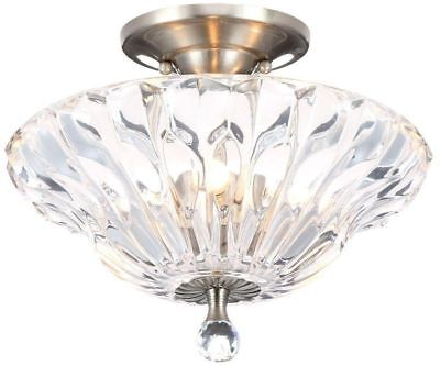 Ceiling Light Semi Flush Mount Fixture Lighting Polished Chrome Crystal Shade