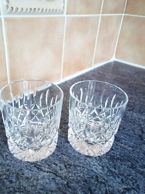 Pair Of Signed Stuart Crystal Whisky Tumblers Glasses