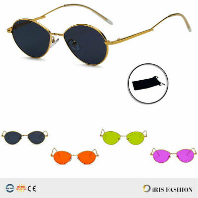 Small Lightweight Wire Rim Gold Unique Metal Frame Sunglasses Oval Lens Glasses