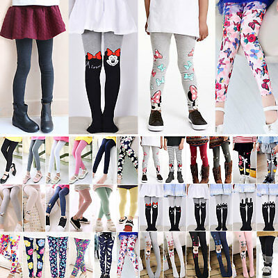 Kids Baby Girls Leggings Pants Children Tight Trousers Long Socks Bottoms 2-12 Y