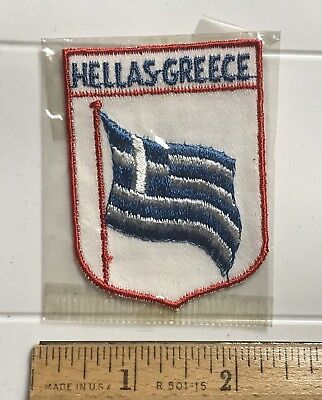 Hellas Greece Grece Waving Greek Flag Blue White Embroidered Patch Badge