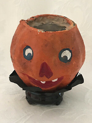 Vintage Halloween Paper Mache Pumpkin Candy Container - Black Paper Base