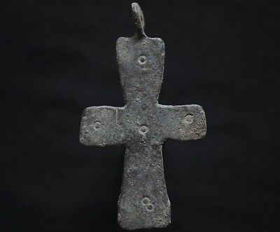 Ancient Viking Bronze Cross. Decorated Norse Amulet Pendant, c 950-1000 Ad. Mint
