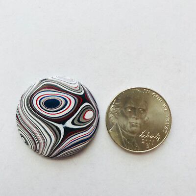 (7)Fordite Cabochon dramatic pattern, round