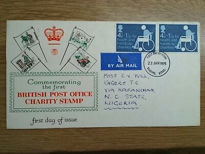 GB 1975 Health and Handicap Funds First Day Cover Air Mail to Nigeria