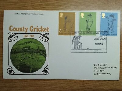 GB 1973 County Cricket First Day Cover County Cricket Exhibition Lords  h/s